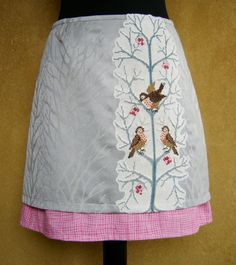 Embroidery skirt Little Birds, lined double skirt, upcycled, straight skirt, embroidery applique, gray pink white, size Extra Small door LUREaLURE op Etsy