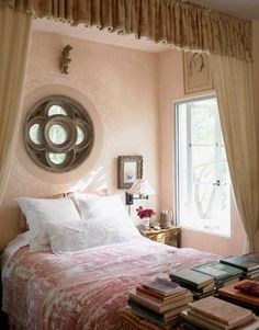bedroom of designer penelope bianchi in santa barbara, california featuring an 18th-century toile bedspread purchased off of eBay