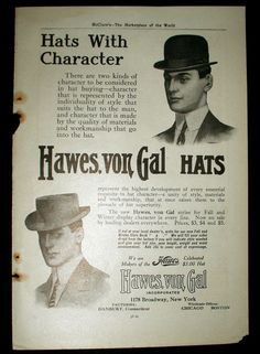 Four 1908 Men Fashion Hat Collar And Coat Magazine Page Ads - The Gatherings Antique Vintage