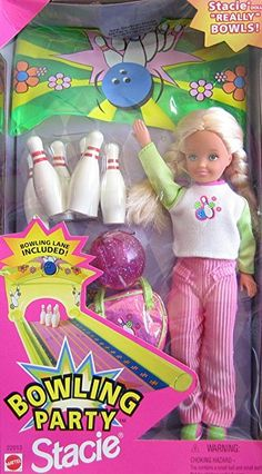 Barbie Bowling Party STACIE Doll w Bowling Pins, Bowling Ball & More! (1998)