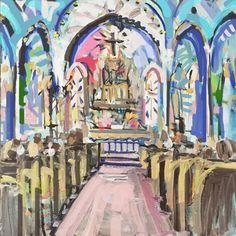 """Modern Art Print on Paper or Canvas, church interior art, """"Church 2"""""""