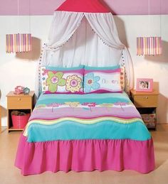 New Girls Embroidered Pink & Aqua Flowers Bedspread Bedding Sheet Set Twin  5PC #BedspreadSet