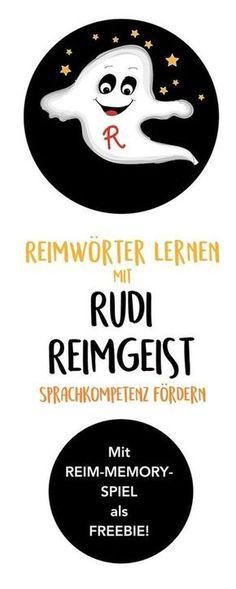 """Sprachkompetenz fördern mit """"Rudi Reimgeist"""" und seinem Memory Spiel zum Reimwörter lernen. Eine Beschäftigung für Kleinkinder und Kinder in Kita, Kindergarten, Vorschule und Grundschule. Mit Freebie zum Ausdrucken und Ausmalen. Von """"Hallo liebe Wolke"""" zu"""