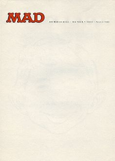 """showpigeon: """" Mad Magazine letterhead, 1955. Check out the watermark! """""""