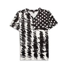 >> Click to Buy << New Arrive Graffiti Black White American Flag 3D Print T-shirt V-Neck Homme Men Short Classic Tee Unisex Quality Clothing #Affiliate