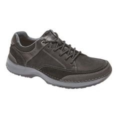 Men's Rockport Rocsports Lite Five Lace Up Sneaker - Black Leather Sneakers Wide Shoes For Men, Best Shoes For Men, Sneaker Stores, Sneaker Brands, Black Leather Sneakers, All Black Sneakers, Waterproof Boots, Retro, Men's Shoes