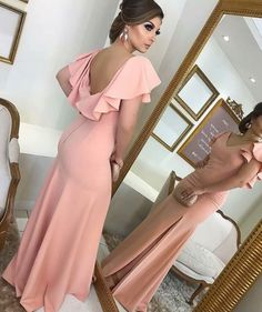 V Neck Sheath Blush Pink Long Prom Dress Jersey Formal Evening Gown on Luulla Prom Dresses Long Pink, Satin Bridesmaid Dresses, Backless Prom Dresses, Pink Dresses, Dress Prom, Cap Dress, Wedding Dresses, Evening Dress Long, Evening Dresses