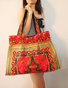 Your place to buy and sell all things handmade Fashion Handbags, Purses And Handbags, Hmong People, Art Bag, Unique Purses, Boho Bags, Jean Purses, Tribal Fashion, Hippie Chic