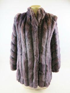 Stunning Grey Jacket with Purple Tint Faux Fox Fur Women's Coat Size 10 #Sasson #BasicJacket
