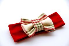 Super soft red headband with red, green and tan plaid bow (bow size is 4.5). Perfect for all ages    Sizes: Newborn- 12 inches  0-3 months-