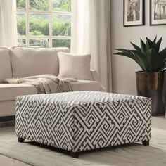 Valentina Fabric Grey/White Cocktail Ottoman - 17 Inches High x 35.75 Inches Wide x 35.75 Inches Deep $265