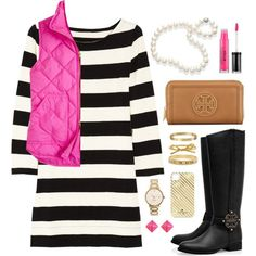 stripes, boots, and pink vest.