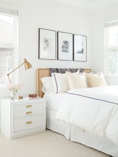 simple white bedroom upholstered headboard, bedroom art