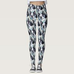 BLACK AND WHITE BOSTON TERRIER LEGGINGS - black and white gifts unique special b&w style
