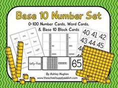 Freebie!  Number cards, word cards, and base 10 cards for 0-100.  Perfect for a center, matching, math focus wall, and lots more!