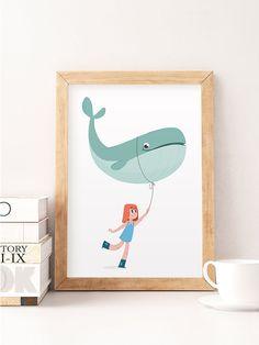 Nursery wall art, Nursery decor, Cute print, Whale art print, Whale poster, Kids art print, Kids illustration, Child room decor, Kids room