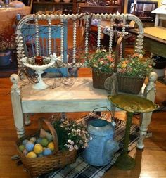 http://www.fleamarketgardeningTwin bed frame becomes an outdoor bench!  Love it! <3