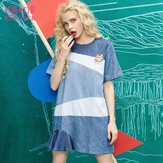 colorblocked jeans shift dress