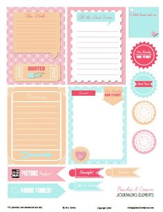 Free Peaches and Cream Journal Cards and Labels from Vintage Glam Studio