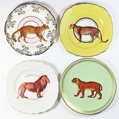 Jungle Cats plate set by yvonneellen on Etsy https://www.etsy.com/listing/257535115/jungle-cats-plate-set