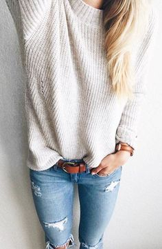 #winter #fashion /  White Knit + Ripped Skinny Jeans