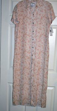 Soft Pink Background With Floral Jones & Co 100% Rayon Shirt Maxi Fully Lined Size 10 Maxi Dress By $46