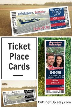 Tell your guests where they're sitting with your very own place card tickets. You can theme your tables after Sections, Players, Stadiums, Teams or anything else you'd like, it's entirely up to you! By CuttingItUp.etsy.com Softball Wedding, Basketball Wedding, Golf Wedding, Sports Wedding, Wedding Reception, Ticket Invitation, Invitations, Themed Weddings, Save The Date Magnets