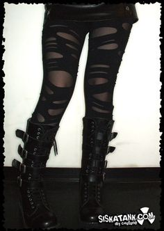BROKEN Black Post Apocalyptic Leggings Double Layer by siskatank Distressed Leggings, Ripped Leggings, Black Leggings, Gothic Leggings, Fishnet Leggings, Sheer Tights, Dark Fashion, Gothic Fashion, Grunge