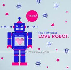 Love Robot Kid Wall Sticker Kids Wall Decals, Wall Sticker, Friends In Love, Robot, Stickers, Robots, Decals