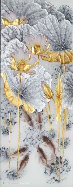 Resultado de imagen de ʦÐÖ£¬ºÃÏñÔÚÄÄÒ Gold Leaf Art, Gold Art, Japanese Painting, Japanese Art, Chinese Art, Asian Art, Painting Inspiration, Flower Art, Modern Art