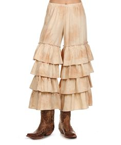 Tea Stain Tiered-Ruffle Linen-Blend Gaucho Pants - Women