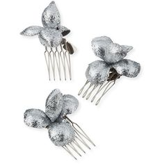 Gigi Burris Alchemia Floral Hair Combs ($200) ❤ liked on Polyvore featuring accessories, hair accessories, jewelry, silver, hair comb accessories, floral hair accessories and hair combs