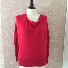 Ann Taylor LOFT Cowl Sweater Raspberry Red Womens Petite Small PS #AnnTaylorLOFT #CowlNeck
