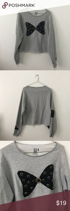 Gray Sweatshirt With Bow So cute. I cropped this. Has lace detail. I made this a long time ago and have a lot of these. I love bows sooo much. It's in perfect condition. kawaii Sweaters Crew & Scoop Necks