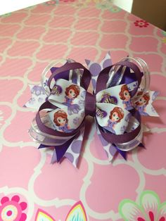 Disney Juniors' Sophia the First inspired hairbow   on Etsy, $6.00