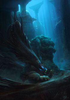 Deep Sea Guardian by Gaelle Seguillon : ImaginaryMonsters Mythical Sea Creatures, Deep Sea Creatures, Underwater Creatures, Mythological Creatures, Fantasy Creatures, Meer Illustration, Scary Ocean, Ocean Monsters, Vegvisir
