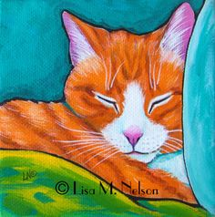 Original Sweet Sleeping Orange Tabby Cat by ArtbyLisaMNelson