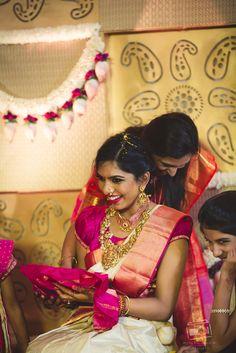 Bangalore Telugu Grand & Luxurious Wedding - Bhramini and Abhishek Sangeet Outfit, Mehndi Outfit, Indian Wedding Pictures, Wedding Pics, Wedding Story, Telugu Wedding, Saree Wedding, Tulsi Silks, Bridal Hairdo