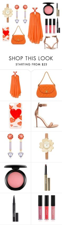 """Strapped dress"" by hillarymaguire ❤ liked on Polyvore featuring Jay Ahr, Chanel, Iphoria, Gianvito Rossi, Valentina Brugnatelli, Michael Kors, MAC Cosmetics, Trish McEvoy, Smashbox and Sigma"