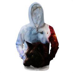 3D Unisex Zip UP Wolf Hoodies Brand Hooded Zipper Sweatshirts Men Hoodie Fashion Tracksuits Funny Novelty Streetwea r S -6X