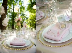 blush pink wedding. gold sequenced beading around every individual serving plate, love!