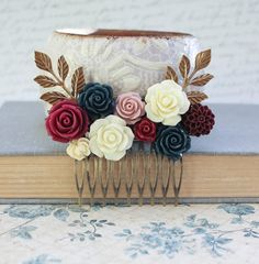 Bridal Hair Comb Burgundy and Navy Blue Wedding by apocketofposies