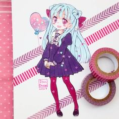 Otro peinado de corazón #kawaii #cute #heart #pastelcolors #washitape #seifuku #copicmarker #copicsketch #copicciao