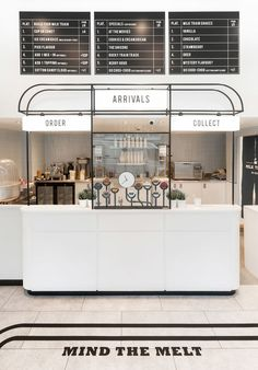 milk train - Ice cream shop Milk Train realizes the importance of a design-forward and photo-friendly interior when it comes to attracting consumers. Design Shop, Kiosk Design, Coffee Shop Design, Cafe Design, Store Design, Signage Design, Brand Design, Design Design, Graphic Design