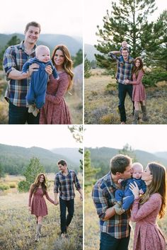 lovely country clothes - parents in pattern and child in a solid color to tie them together