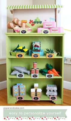 Grocery Store Themed Birthday Party or Playdate // Hostess with the Mostess® And to go with the play kitchen – Kids Grocery Store, Supermarket Grocery, Diy Play Kitchen, Play Kitchens, Pretend Play Kitchen, Pretend Food, Kitchen Ideas, Play Market, Play Centre