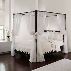 Provide an extra-luxurious ambience for your canopy bed with this Tie Sheer Bed Canopy Curtain Set. In a translucent white fabric with a beautiful drape, the curtains will create your own special space and add an elegant touch to your bedroom. Canopy Bed Curtains, Canopy Bed Frame, Canopy Bedroom, Bedroom Decor, Bed Canopies, 4 Poster Bed Canopy, Bed With Canopy, Metal Canopy, Sheer Curtains