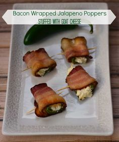 Bacon Wrapped Jalapeno Poppers from Growing Up Gabel are stuffed with goat cheese!  #recipe #appetizer