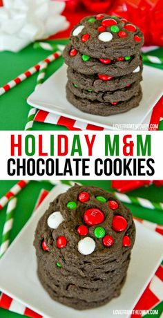 Chocolate M&M Cookies. Minty and colorful M&M candies make these cookies perfect Christmas cookies!