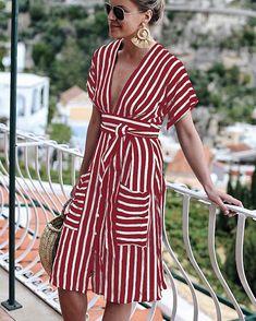 Striped v-neck backless tether pocket dress Boho Midi Dress, Sequin Midi Dress, Backless Maxi Dresses, White Maxi Dresses, Dresses Dresses, Formal Dresses, Bohemia Dress, Short Beach Dresses, Dress With Boots